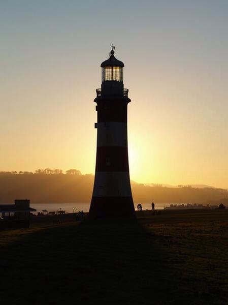 Sunset behind Smeaton's Tower on Plymouth Hoe