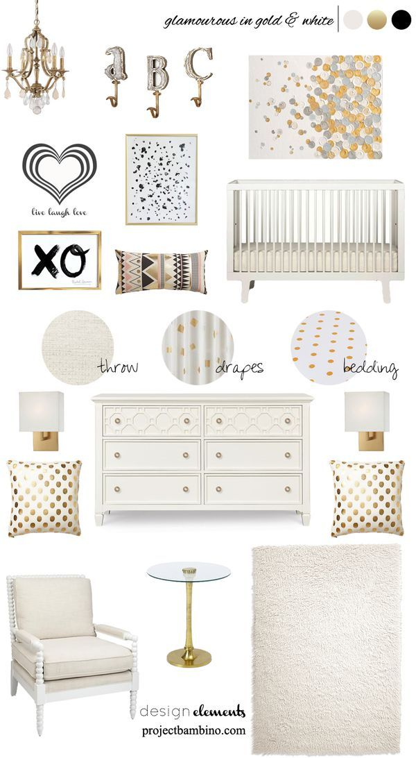 Nursery and bedroom decor and design with white and gold accents