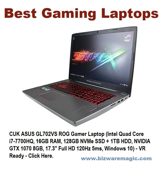 "CUK ASUS GL702VS ROG Gamer Laptop (Intel Quad Core i7-7700HQ, 16GB RAM, 128GB NVMe SSD + 1TB HDD, NVIDIA GTX 1070 8GB, 17.3"" Full HD 120Hz 5ms, Windows 10) - VR Ready - Click Here. #asus #gaminglaptop #extremelaptops #gamerlaptop #cuk"