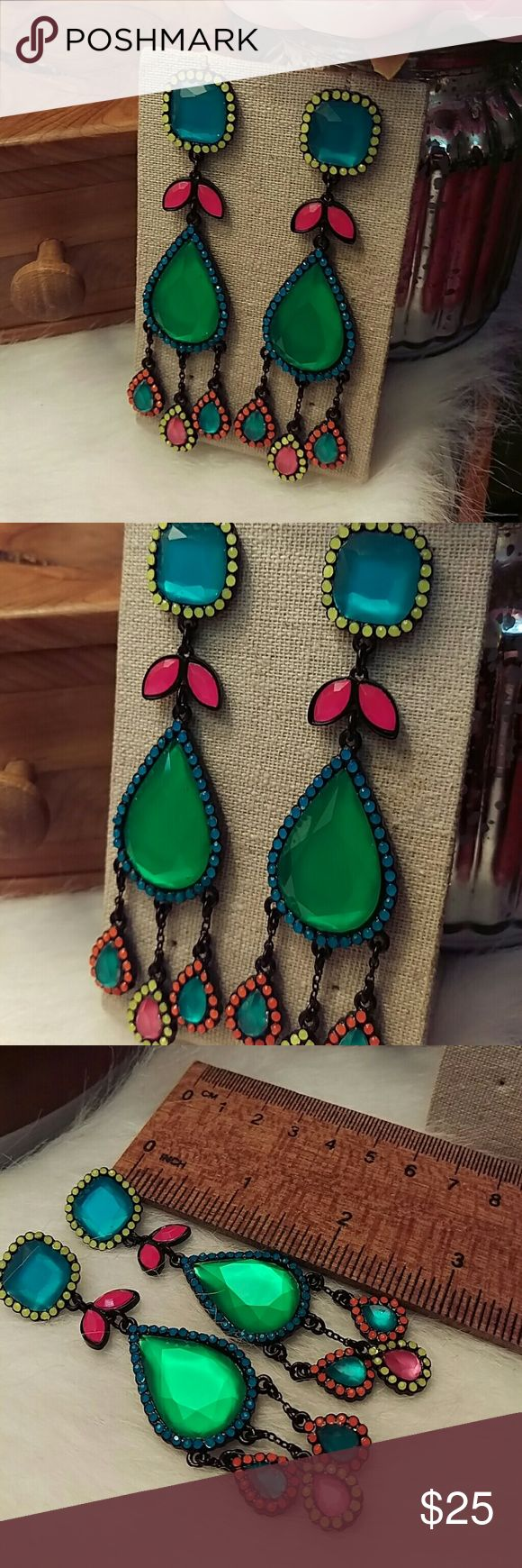Punch neon geometric dangling earrings Light surface scratches. No missing crystals Punch Jewelry Earrings