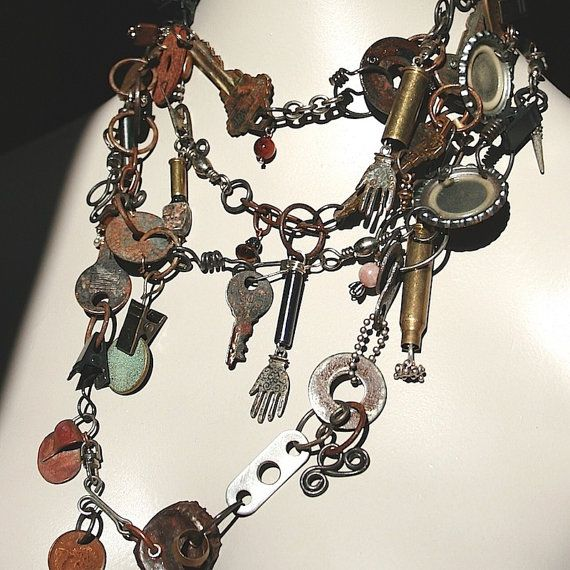 DIRT Metal Industrial Found Objects Necklace Jewelry / Multi