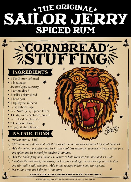 Cornbread Dressing made with Sailor Jerry Spiced Rum