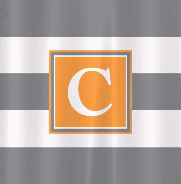 BronStar Originals  - Wide Stripe Personalized Shower Curtain - grey and orange, $79.00 (http://www.bronstaroriginals.com/wide-stripe-personalized-shower-curtain-grey-and-orange/)