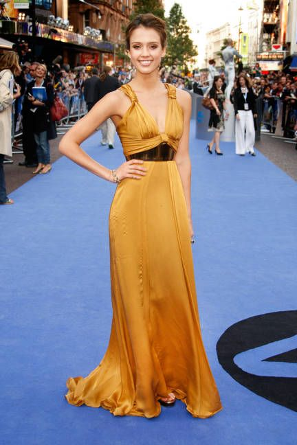 Jessica Alba hits the London premiere of Fantastic Four: Rise of the Silver Surfer in a slinky, custom-made gown by Gucci.