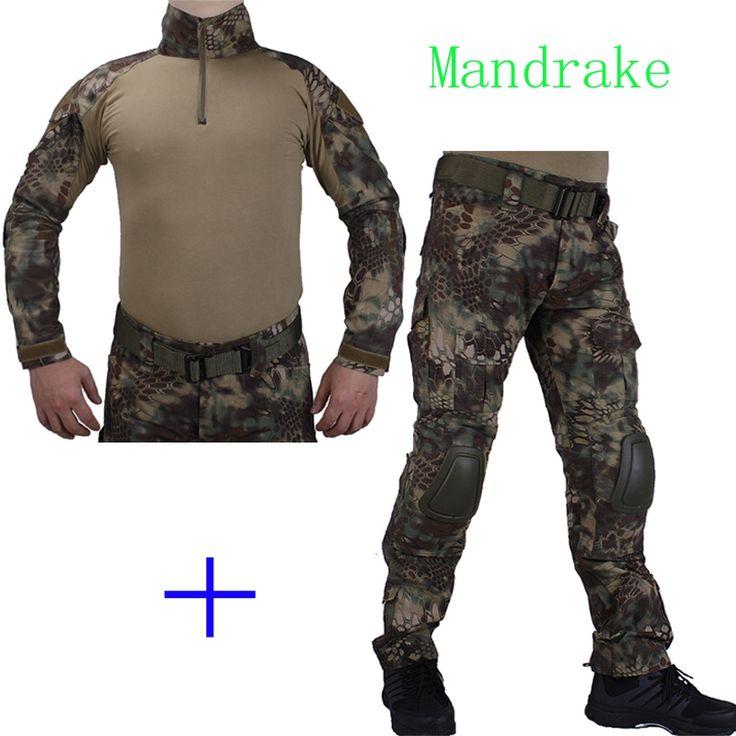 59.84$  Buy now - http://ali8rn.worldwells.pw/go.php?t=32753379795 - Hunting Camouflage BDU Mandrake Combat uniform shirt met Broek en Elbow& KneePads militaire cosplay uniform ghilliekostuum jacht 59.84$