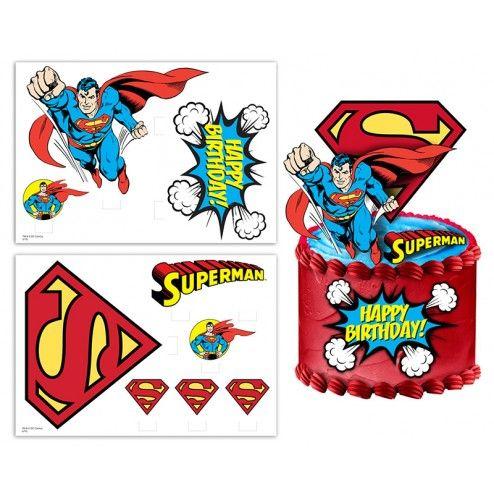 Edible image cake topper scene 2 sheets Superman