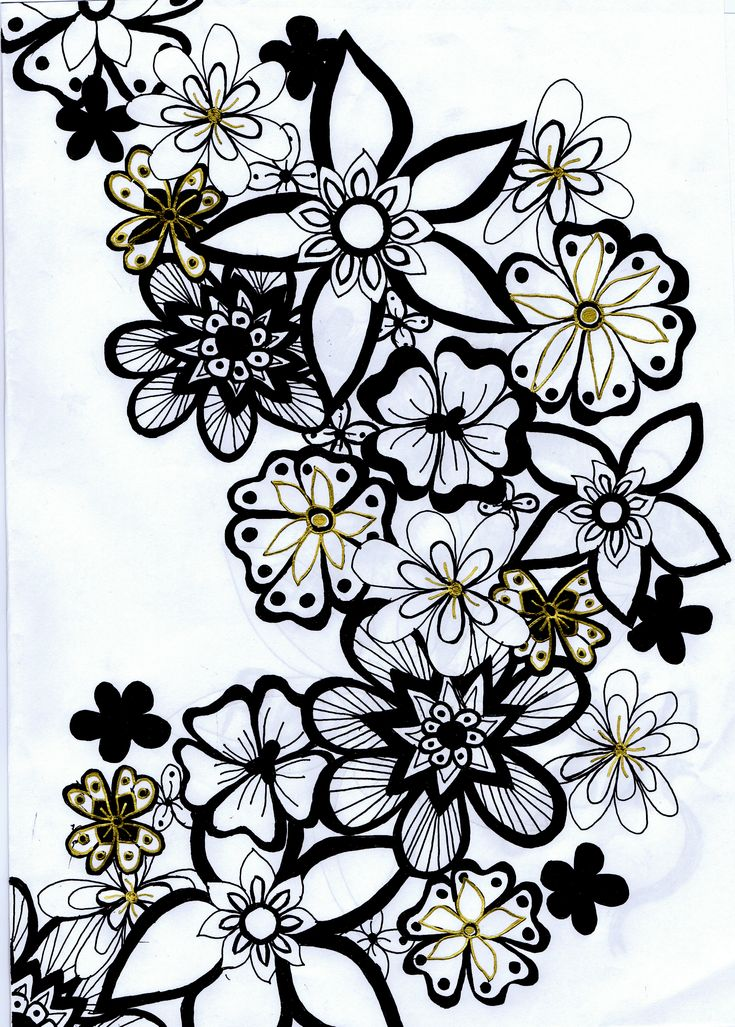 Viewing Gallery For - Flowers Black And White Drawing -3315