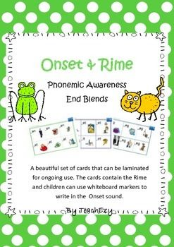 Onset & Rime: This consists of cards that can be laminated for ongoing use. The cards contain the Rime and children can use whiteboard markers to write in the Onset sound.
