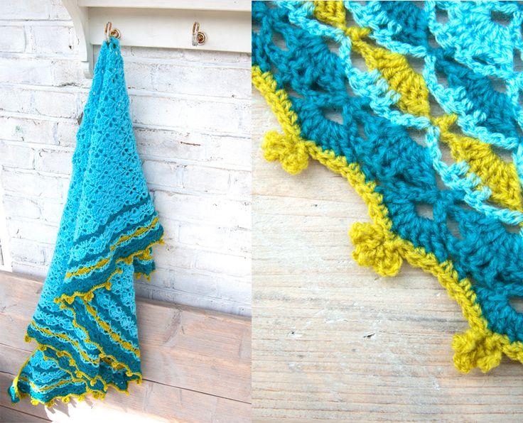 South-Bay omslagdoek met eenvoudige rand van blaadjes (met patroon)