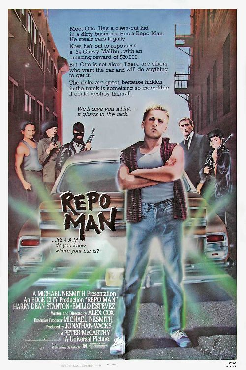 """Repo Man (1984) """"Repo Man is many things: an alien-invasion film, a punk-rock musical, a send-up of consumerism. One thing it isn't is boring.""""- Hilarious film; some great music and good script. """"And yet... I blame society. """"That's bullshit. You're a white suburban punk""""."""