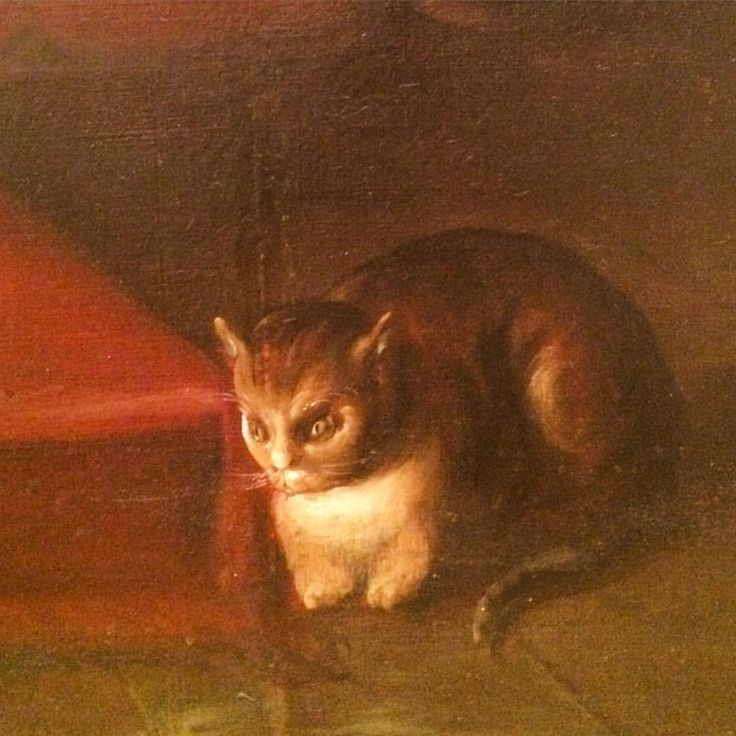 "Demonic kitty lurking in the corner of Cristóbal de Villalpando's ""Annunciation"" (circa 1710) at @munalmx. #caturday (at Museo Nacional de Arte INBA)"