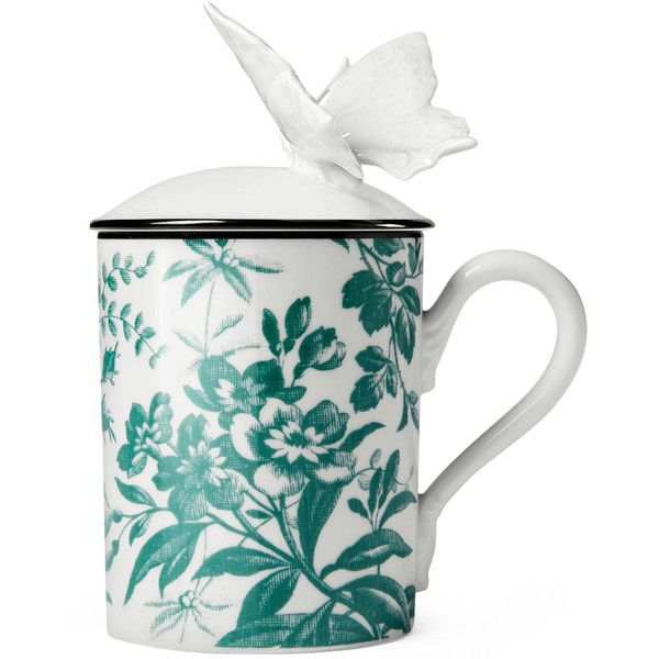 Gucci Herbarium Butterfly Mug (4.275.140 IDR) ❤ liked on Polyvore featuring home, kitchen & dining, drinkware, décor, mugs, personalize mugs, dishwasher safe mugs, porcelain mugs, green mugs and butterfly mug