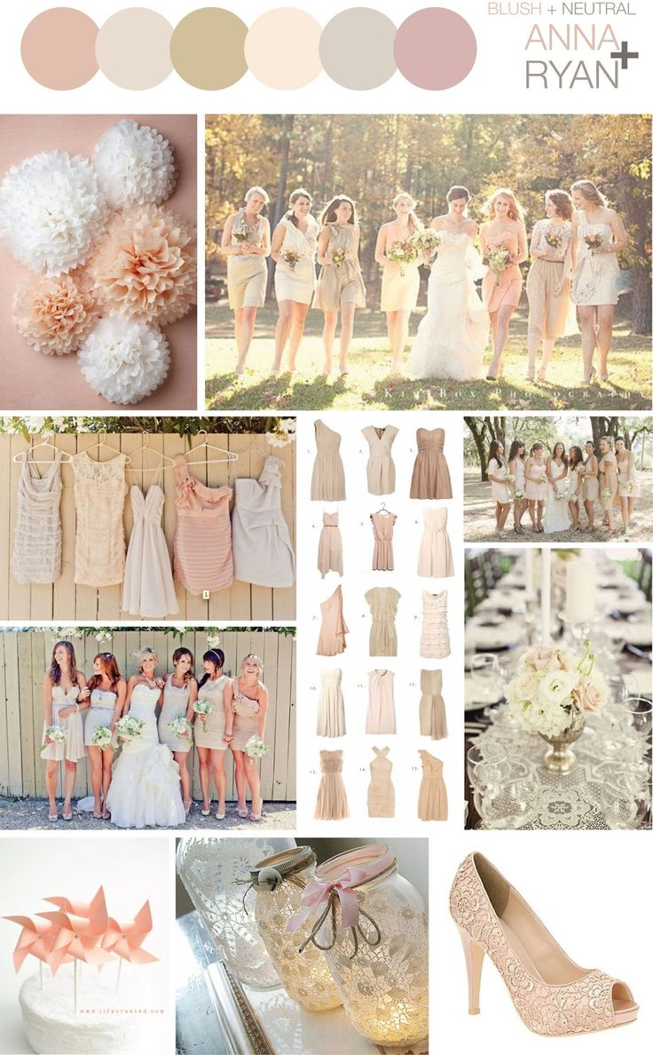 Blush + Neutral Color Scheme - Wedding bridesmaids dresses