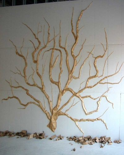 Low Relief Wall Drawing, U0027Treescreen, Cardboard Treesu0027, Gateway II, New