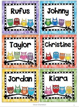 Owl Labels - Four Sizes