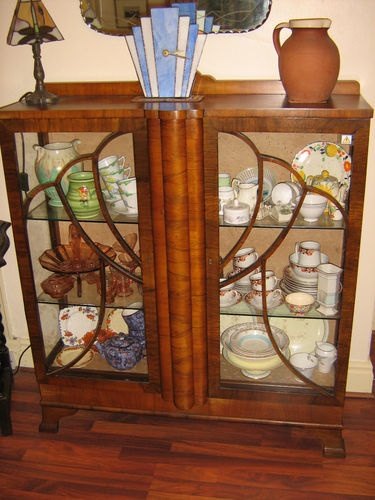 Vintage Art Deco 1937 Burr Walnut China Cabinet