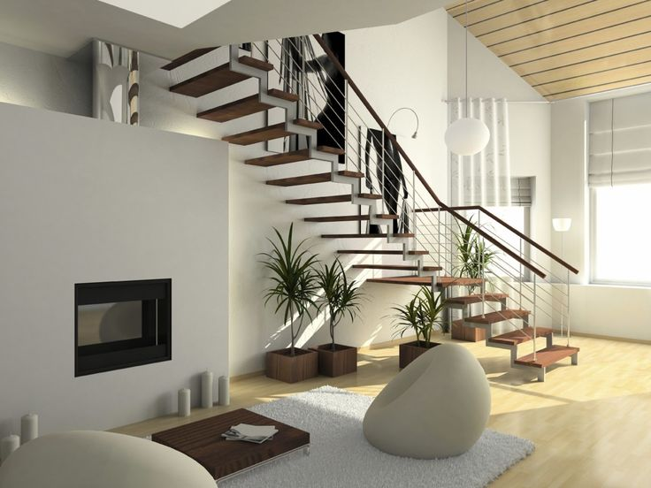 Excellent Interior Ultra Modern House Design With Stairway And Big Windows Also…