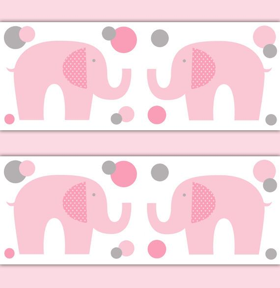Elephant Wallpaper Border Nursery Decal Pink Grey Gray Baby Room Wall Art Decor Pinterest And