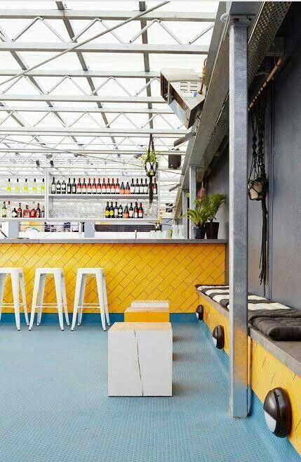 yellow bricks and blue flooring #decor #colors