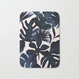 Tropical Leaves - Midnight Bath Mat