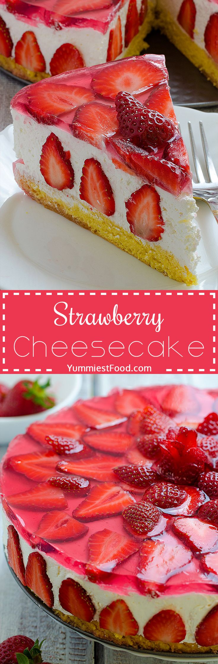 Strawberry Cheesecake - love at first bite! This cake with cheese and strawberry combination is very tasty, delicious, quick and very refreshing!