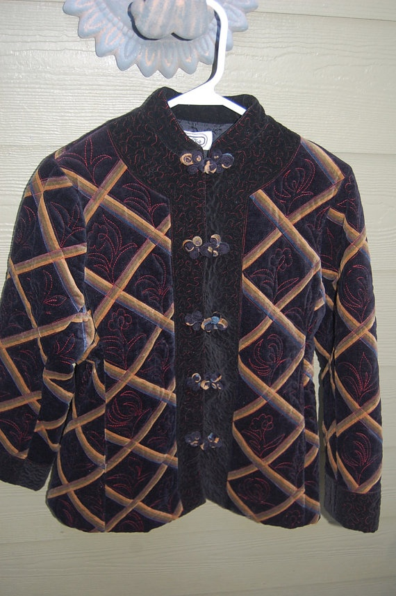Vintage 60s 70s Black Velveteen Quilted Bel D'or Mandarin Collar Jacket with Frogs!! by MaidenhairVintage, $48.00