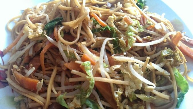 Slimming world free on extra easy. Veggie Stir fry I used a packet of £1 stir fry mix from tesco. Sprayed fry light in a pan and stir fried the veg while the noodles were cooking. Drained and mixed in noodles and fried for a couple of mins. Added soy sauce. A quick and delicious meal for less than £2
