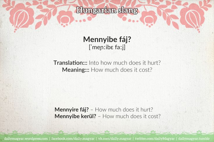 Mennyibe fáj? – How much does it cost? (#slang) Mennyire fáj? – How much does it hurt? https://dailymagyar.wordpress.com/2014/06/11/slang-expressions-11/