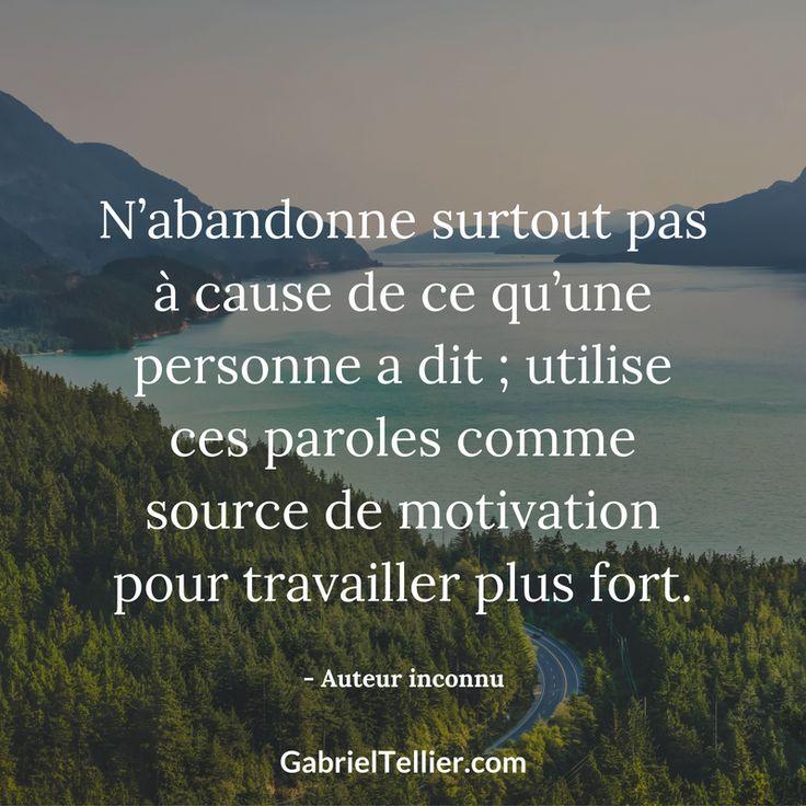 N'abandonne surtout pas à cause de ce qu'une personne a dit ; utilise ces paroles comme source de motivation pour travailler plus fort. #citation #citationdujour #proverbe #quote #frenchquote #pensées #phrases #french #français