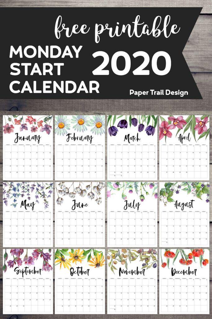 Free Printable 2020 Monday Start Calendar Floral Paper Trail Design Free Printable Calendar Planner Printables Free Diy Calendar