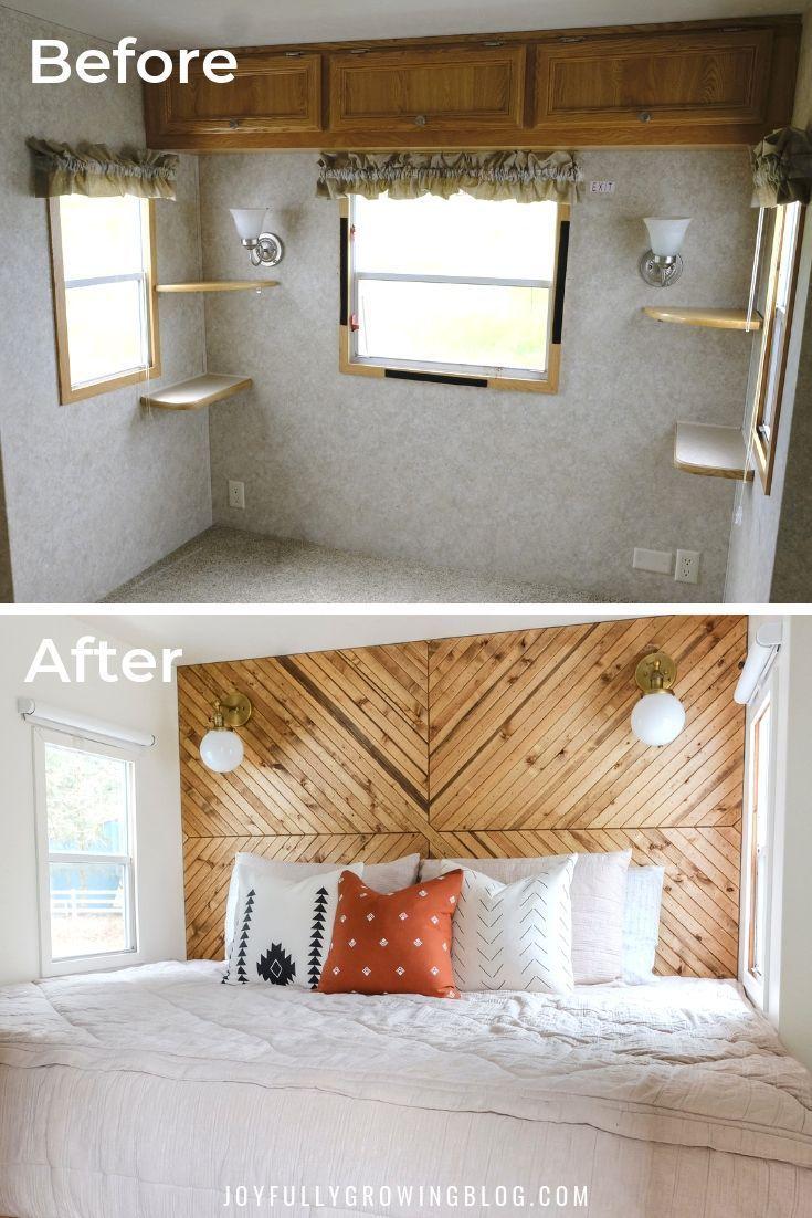 Rv Bedroom Remodel Camper Bedroom Before After In 2020 Diy Camper Remodel Remodel Bedroom Small Bedroom