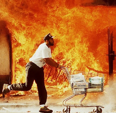 The 1992 Los Angeles riots were a series of riots that occured over a series of six days in Los Angeles metropolitan area in California in April 1992. The rioting started on April 29, 1992, after a jury trial resulted in the acquittal of four Los Angeles Police Department officers accused in the videotaped beating of motorist Rodney King following a high-speed police pursuit.