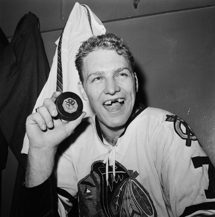 Bobby Hull after getting his teeth knocked out with a puck