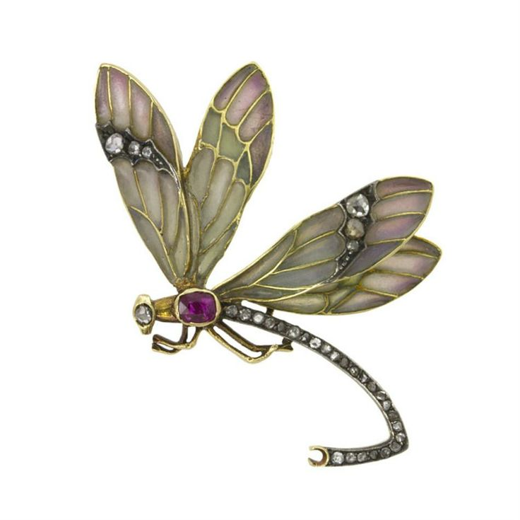 An Art Nouveau enamel, ruby and diamond dragonfly brooch, the wings embellished with rose and green plique-a-jour enamel with yellow gold membranes, the body and wings encrusted with rose-cut diamonds, an oval-shaped faceted ruby to the centre with a rose diamond eye, all set in yellow gold, a brooch fitting to the reverse, gross weight 5.3 grams, circa 1890