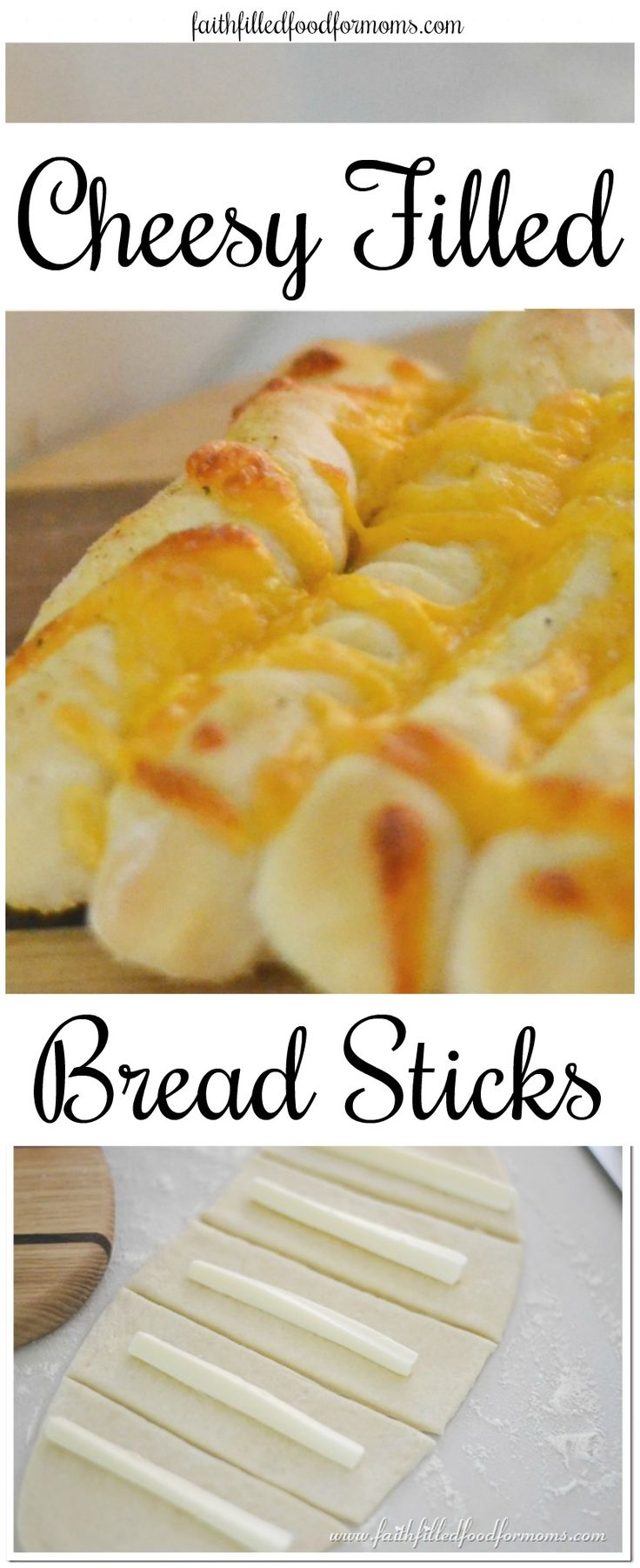 Homemade Cheese Filled Bread Sticks made with homemade pizza dough bread dough! Easy recipe and delicious! #bread #cheese
