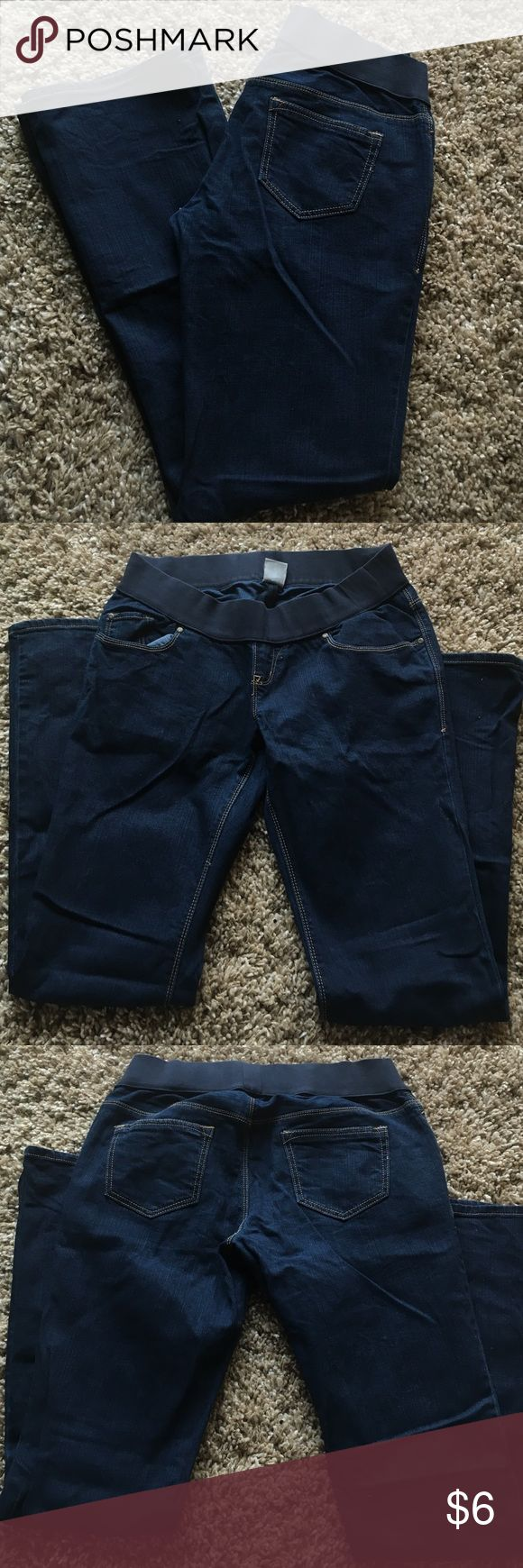 Old Navy Maternity Jeans Old Navy Maternity Jeans- almost new/excellent condition!- under belly band- sz 4- boot cut- solid dark blue wash- these are a steal! Old Navy Jeans Boot Cut