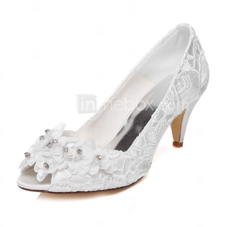Mujer Zapatos Seda Verano / Otoño Pump Básico Tacones Tacón Cono Dedo redondo Hebilla Blanco / Rosa claro / Azul Real / Boda / Vestido qualité 68KW1JraI