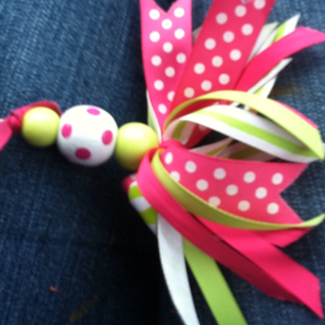 Keychain made With ribbon and wooden beads | My Designs ...