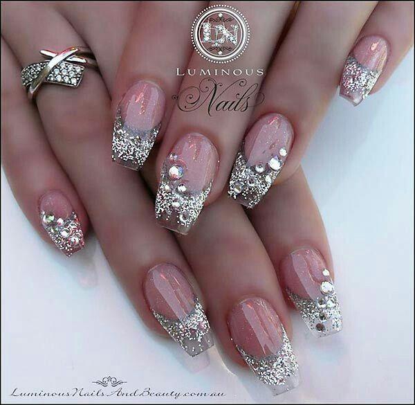 Silver glitter rhinestone nail art