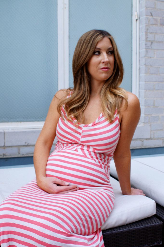 pink and white striped maternity friendly maxi super cute for a baby shower heritwine