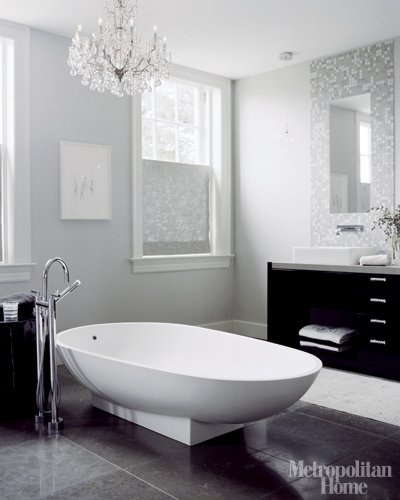 love the simplicity and gray shades, and i'd take the chandelier over the tub as well