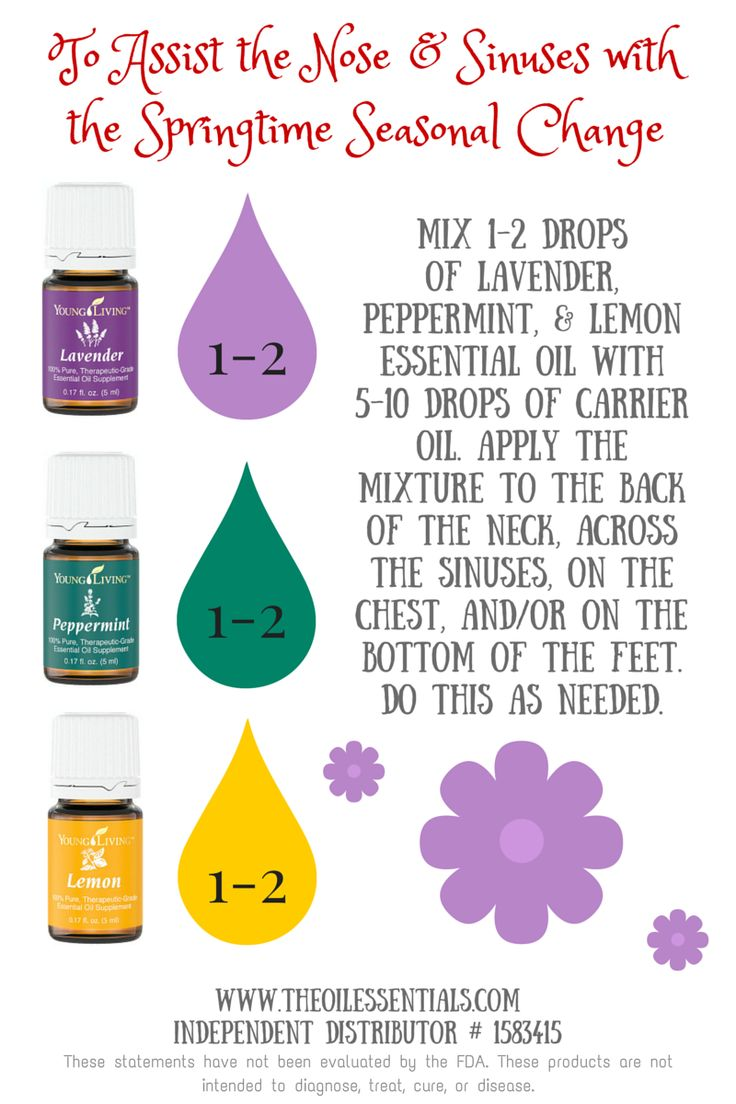 Young Living's lavender, peppermint, and lemon oil for springtime nose and sinus function. Reminder, lemon oil is photosensitive.