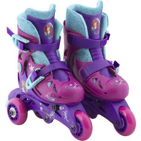 Playwheels Disney Little Mermaid Convertible 2-in-1 Kids Skate, Junior Size 6-9, Purple