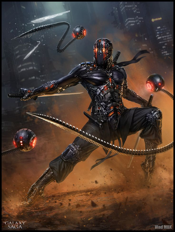 1. Advanced version - I tried to capture the dynamic movement, the grace and the precision of a technologically enhanced ninja, a master in almost every known combat and sword techniques. Along with his power up suit, he has extended his senses by controlling three drones each equipped with a whip sword, giving him an increased long range and control over the surroundings. 2. Regular version - A bounty hunter ninja from the Shamash guild, tracking his prey.