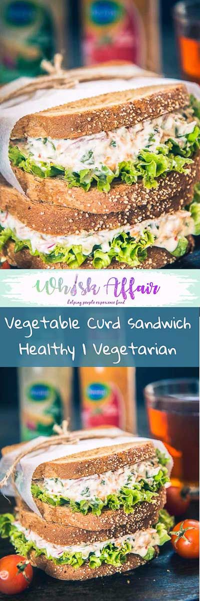 All in all, healthy, creamy and fresh veggies loaded treat, Vegetable Curd Sandwich Recipe is a must try for quick meals and breakfast. Here is how to make it. #Sandwich #Healthy #Snack #Breakfast #Vegetarian  via @WhiskAffair