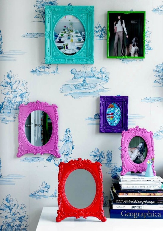 spray paint frames to match or enhance decor do not use cheap home depot like