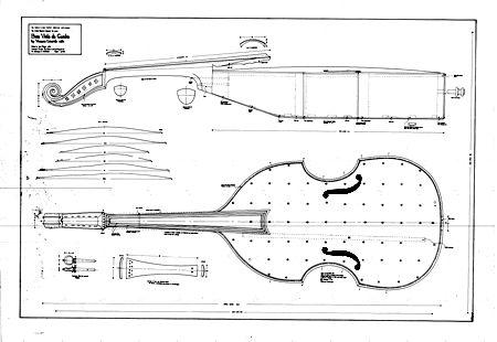 Technical Drawing of bass viola da gamba by Ventura Linarol, Venice, 1582