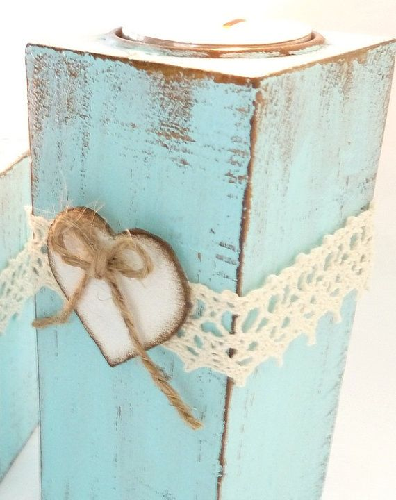 Wedding Candle Holder set Blue Wood Tealight by SayaArtDesign