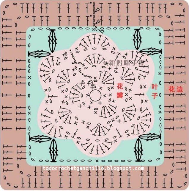manta tejida crochet con cuadros con centro de flor