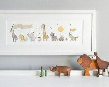 Safari Animal Art, African Animals, Neutral Baby Art, Unisex Nursery Art, Children's Picture, Long Framed Print, perfect for, New Baby Gift